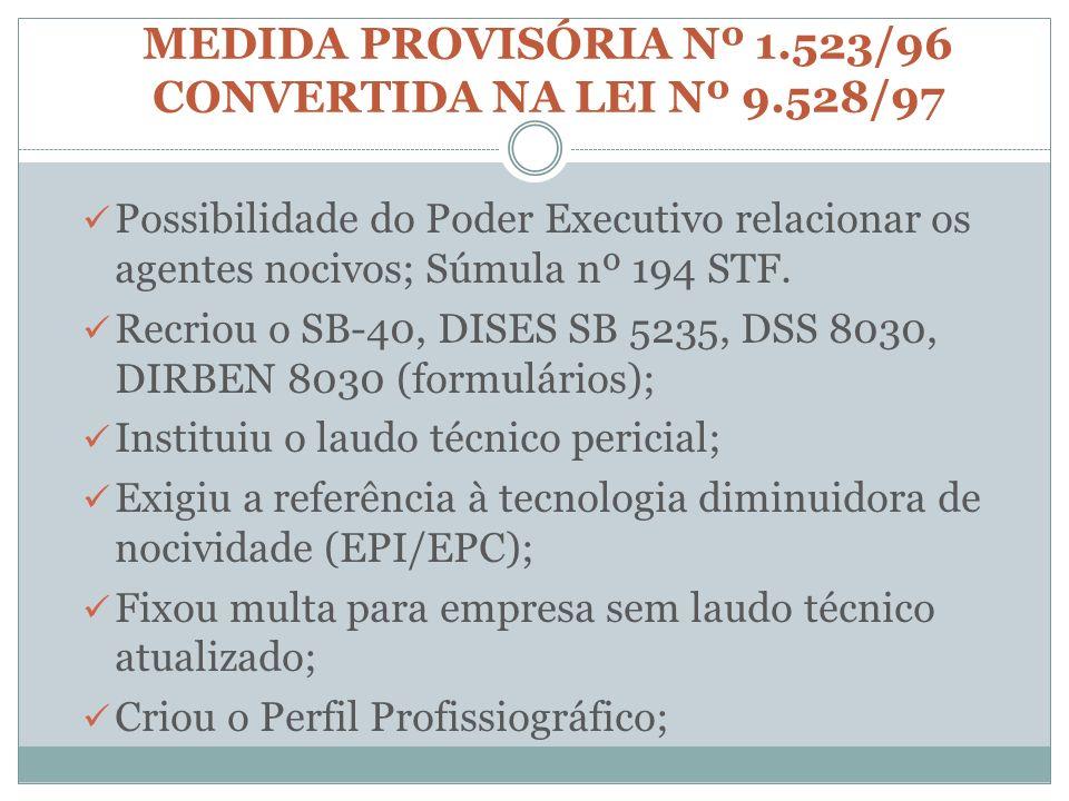 MEDIDA PROVISÓRIA Nº 1.523/96 CONVERTIDA NA LEI Nº 9.528/97 Possibilidade do Poder Executivo relacionar os agentes nocivos; Súmula nº 194 STF. Recriou