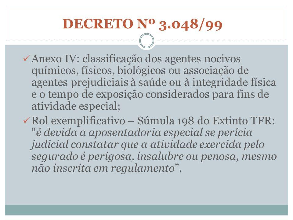 DECRETO Nº 3.048/99 Anexo IV: classificação dos agentes nocivos químicos, físicos, biológicos ou associação de agentes prejudiciais à saúde ou à integ