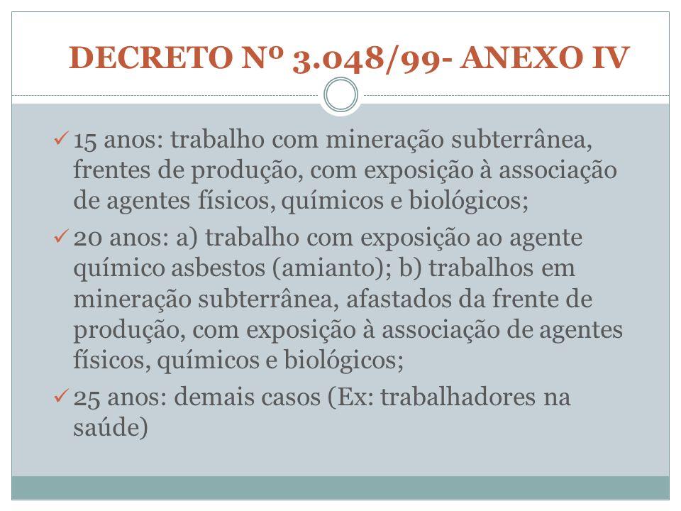 DECRETO Nº 3.048/99- ANEXO IV 15 anos: trabalho com mineração subterrânea, frentes de produção, com exposição à associação de agentes físicos, químico