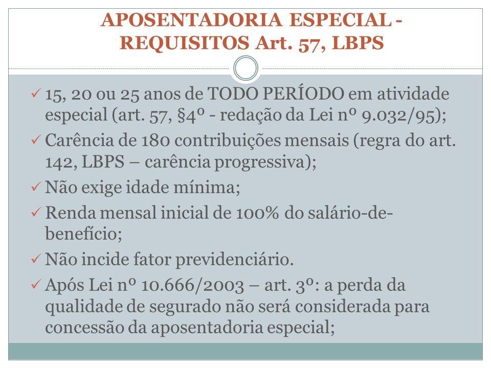 APOSENTADORIA ESPECIAL- REQUISITOS Art. 57, LBPS 15, 20 ou 25 anos de TODO PERÍODO em atividade especial (art. 57, §4º - redação da Lei nº 9.032/95);