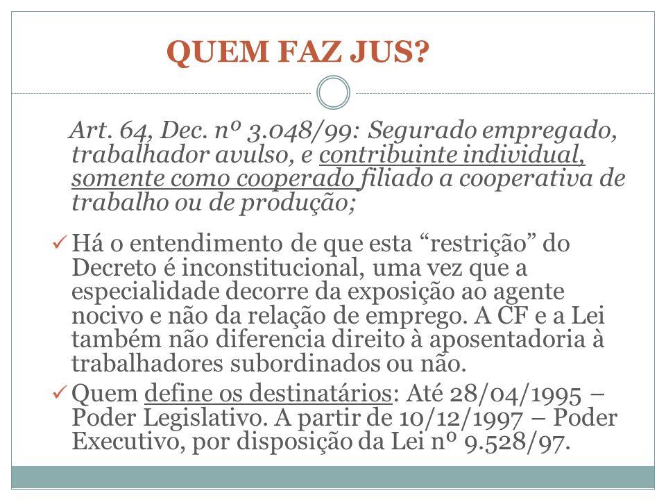 QUEM FAZ JUS? Art. 64, Dec. nº 3.048/99: Segurado empregado, trabalhador avulso, e contribuinte individual, somente como cooperado filiado a cooperati