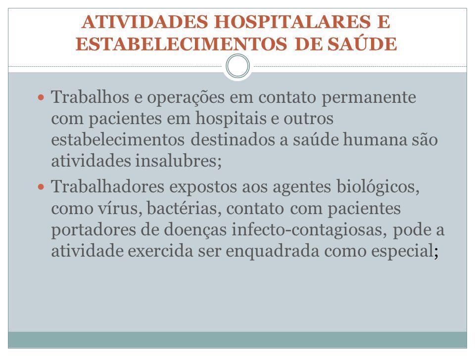 ATIVIDADES HOSPITALARES E ESTABELECIMENTOS DE SAÚDE Trabalhos e operações em contato permanente com pacientes em hospitais e outros estabelecimentos d