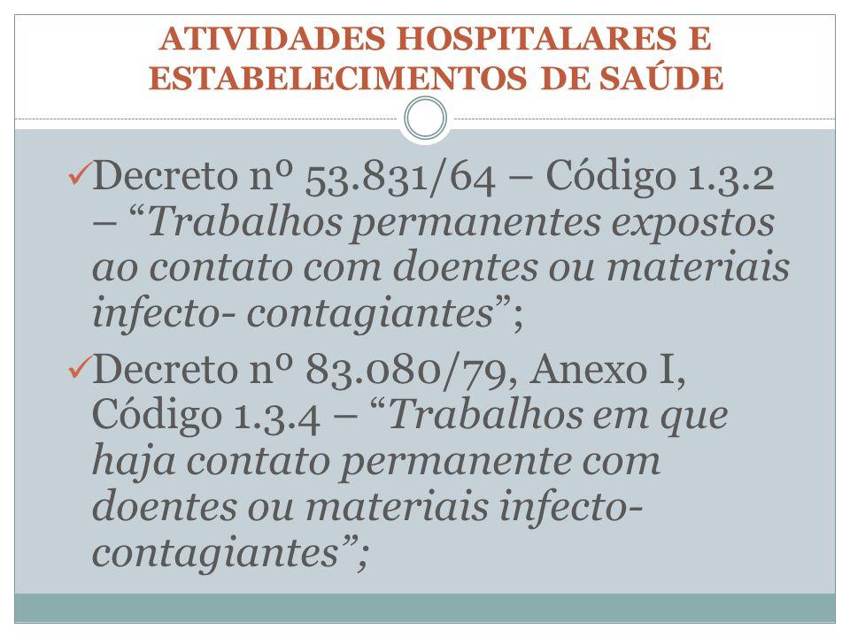 ATIVIDADES HOSPITALARES E ESTABELECIMENTOS DE SAÚDE Decreto nº 53.831/64 – Código 1.3.2 – Trabalhos permanentes expostos ao contato com doentes ou mat