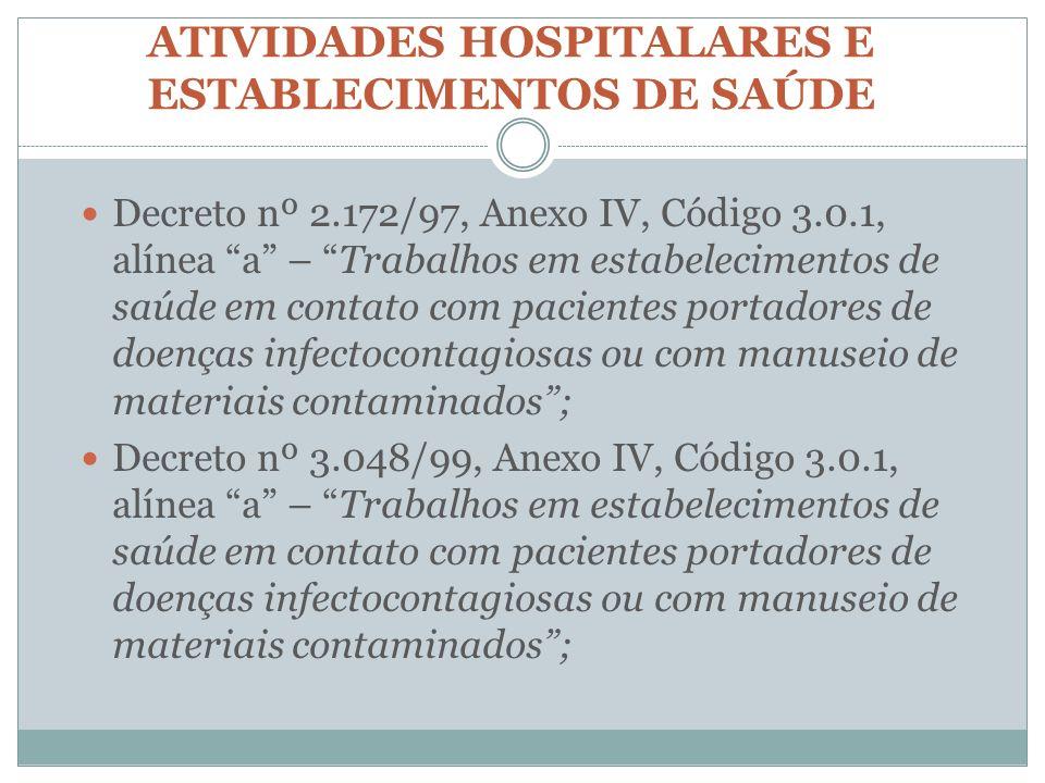 ATIVIDADES HOSPITALARES E ESTABLECIMENTOS DE SAÚDE Decreto nº 2.172/97, Anexo IV, Código 3.0.1, alínea a – Trabalhos em estabelecimentos de saúde em c