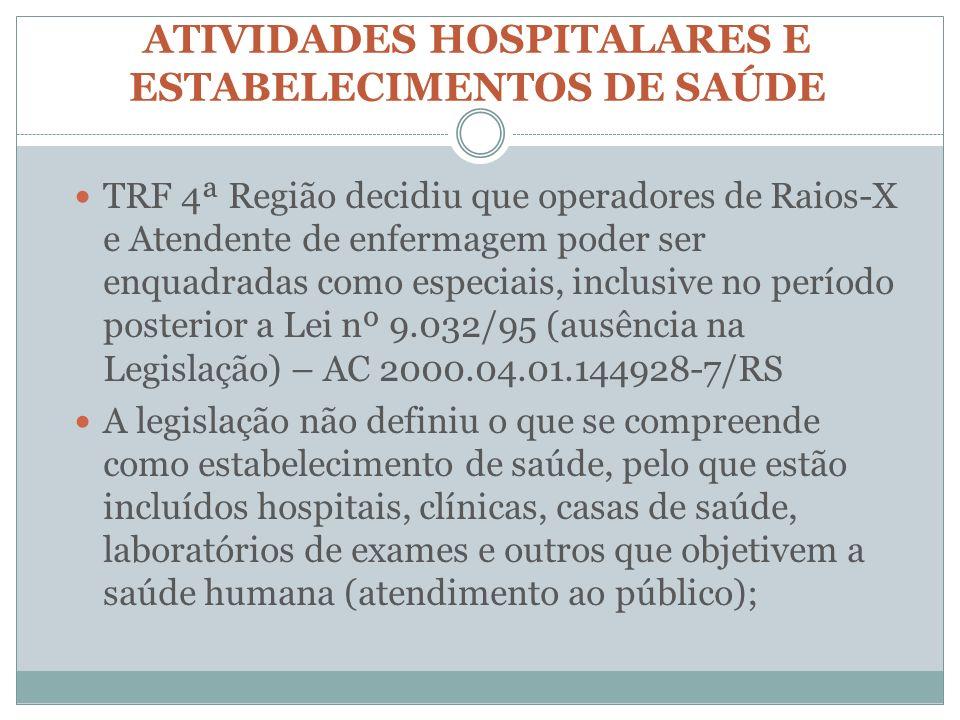 ATIVIDADES HOSPITALARES E ESTABELECIMENTOS DE SAÚDE TRF 4ª Região decidiu que operadores de Raios-X e Atendente de enfermagem poder ser enquadradas co