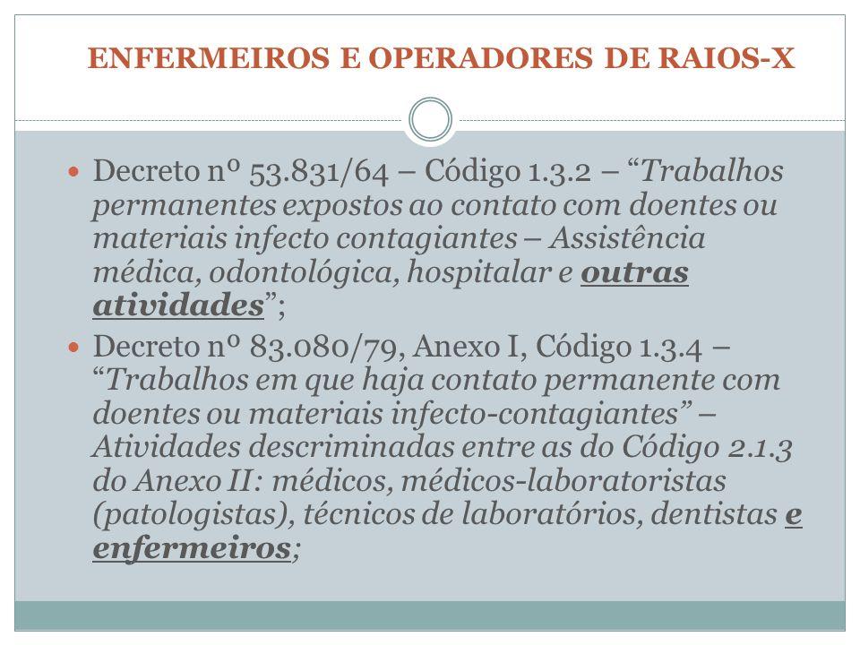 ENFERMEIROS E OPERADORES DE RAIOS-X Decreto nº 53.831/64 – Código 1.3.2 – Trabalhos permanentes expostos ao contato com doentes ou materiais infecto c