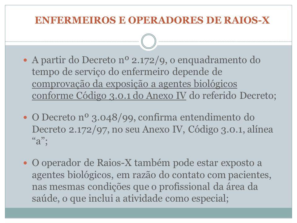 ENFERMEIROS E OPERADORES DE RAIOS-X A partir do Decreto nº 2.172/9, o enquadramento do tempo de serviço do enfermeiro depende de comprovação da exposi