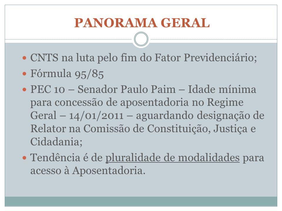 PANORAMA GERAL CNTS na luta pelo fim do Fator Previdenciário; Fórmula 95/85 PEC 10 – Senador Paulo Paim – Idade mínima para concessão de aposentadoria