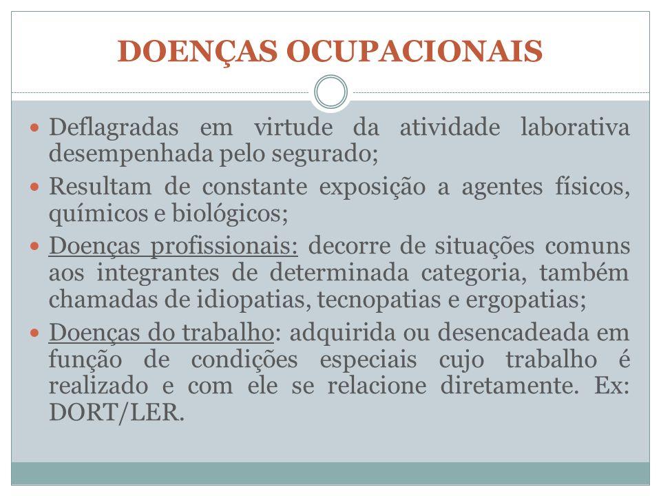 DOENÇAS OCUPACIONAIS Deflagradas em virtude da atividade laborativa desempenhada pelo segurado; Resultam de constante exposição a agentes físicos, quí