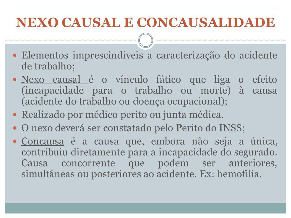 NEXO CAUSAL E CONCAUSALIDADE Elementos imprescindíveis a caracterização do acidente de trabalho; Nexo causal é o vínculo fático que liga o efeito (inc