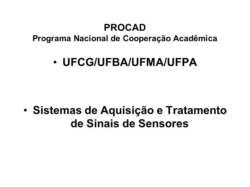 PROCAD Programa Nacional de Cooperação Acadêmica UFCG/UFBA/UFMA/UFPA Sistemas de Aquisição e Tratamento de Sinais de Sensores
