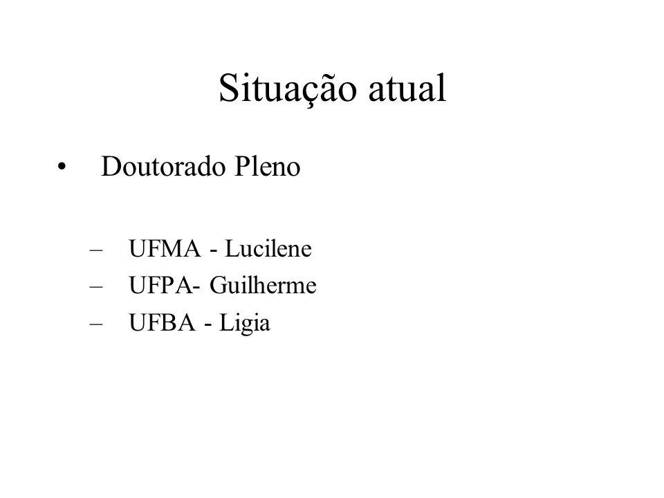 Situação atual Doutorado Pleno –UFMA - Lucilene –UFPA- Guilherme –UFBA - Ligia