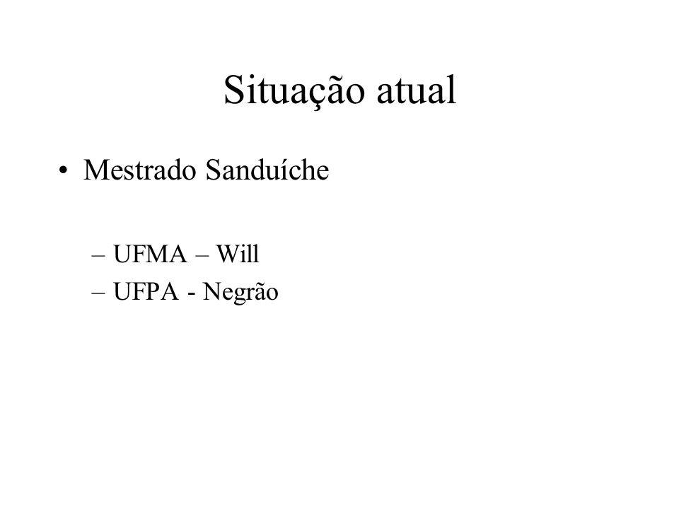 Situação atual Mestrado Sanduíche –UFMA – Will –UFPA - Negrão