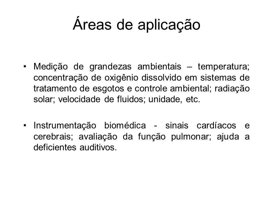 Áreas de aplicação Medição de grandezas ambientais – temperatura; concentração de oxigênio dissolvido em sistemas de tratamento de esgotos e controle