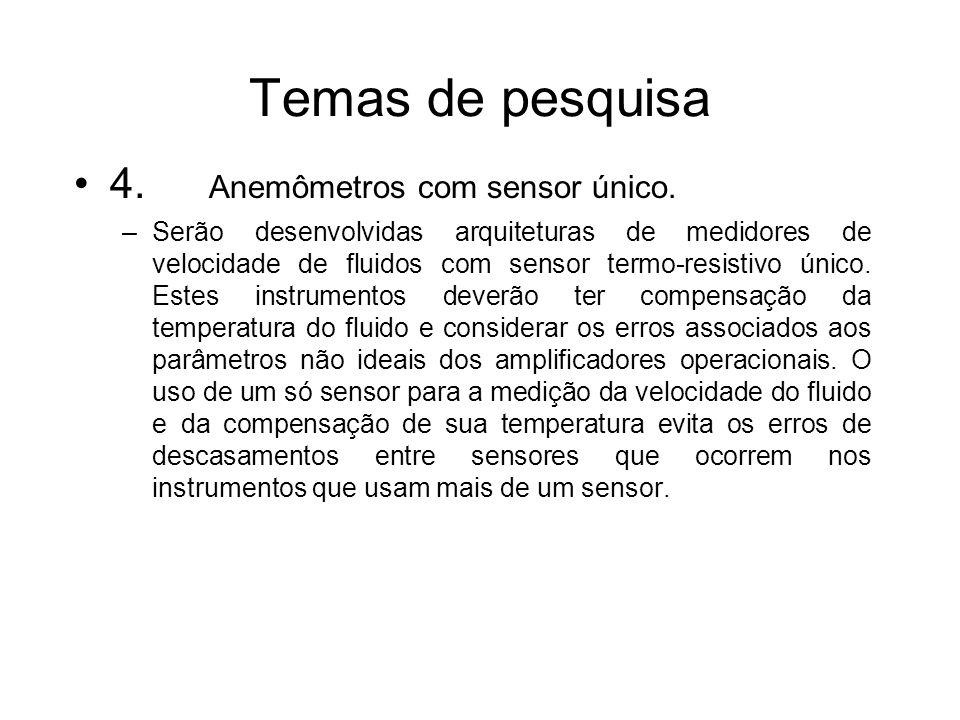 Temas de pesquisa 4. Anemômetros com sensor único. –Serão desenvolvidas arquiteturas de medidores de velocidade de fluidos com sensor termo-resistivo