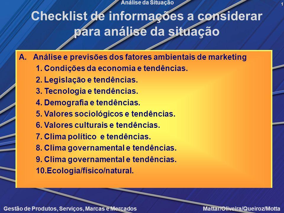 Gestão de Produtos, Serviços, Marcas e Mercados Mattar/Oliveira/Queiroz/Motta Análise da Situação A.Análise e previsões dos fatores ambientais de mark
