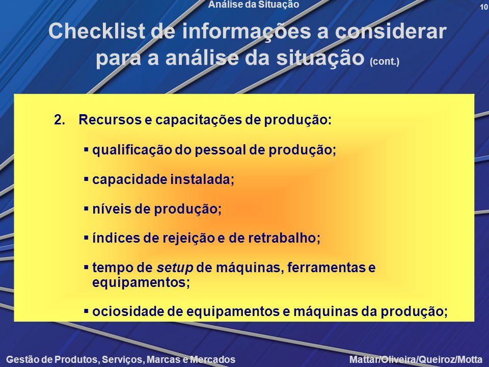 Gestão de Produtos, Serviços, Marcas e Mercados Mattar/Oliveira/Queiroz/Motta Análise da Situação 2.Recursos e capacitações de produção: qualificação