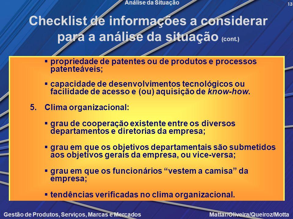 Gestão de Produtos, Serviços, Marcas e Mercados Mattar/Oliveira/Queiroz/Motta Análise da Situação propriedade de patentes ou de produtos e processos p
