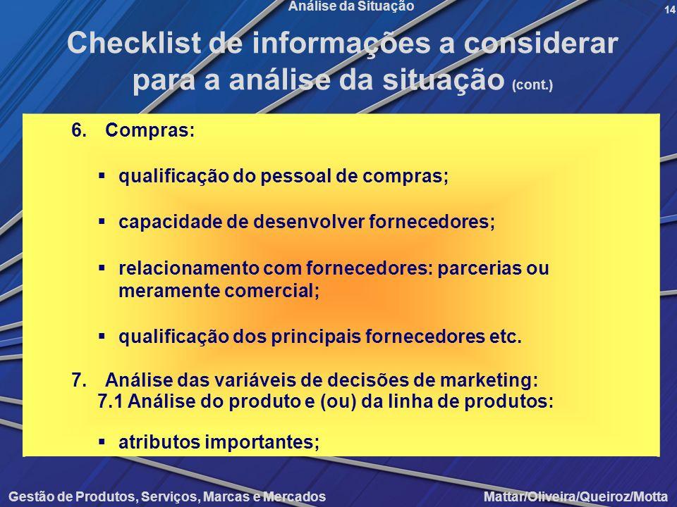 Gestão de Produtos, Serviços, Marcas e Mercados Mattar/Oliveira/Queiroz/Motta Análise da Situação 6.Compras: qualificação do pessoal de compras; capac