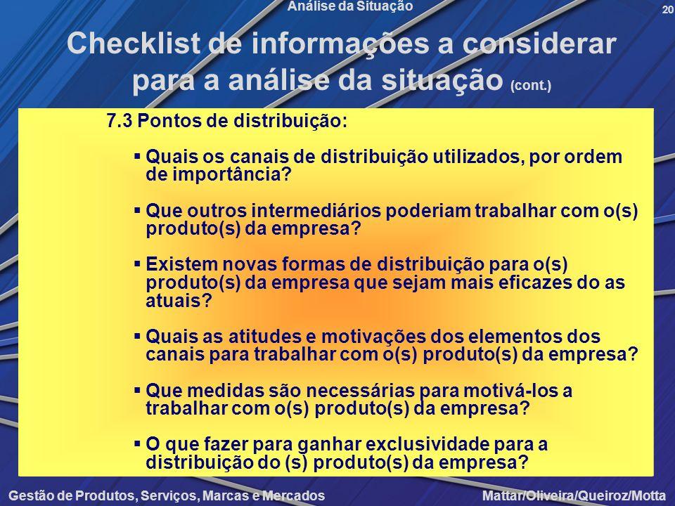 Gestão de Produtos, Serviços, Marcas e Mercados Mattar/Oliveira/Queiroz/Motta Análise da Situação 7.3 Pontos de distribuição: Quais os canais de distr