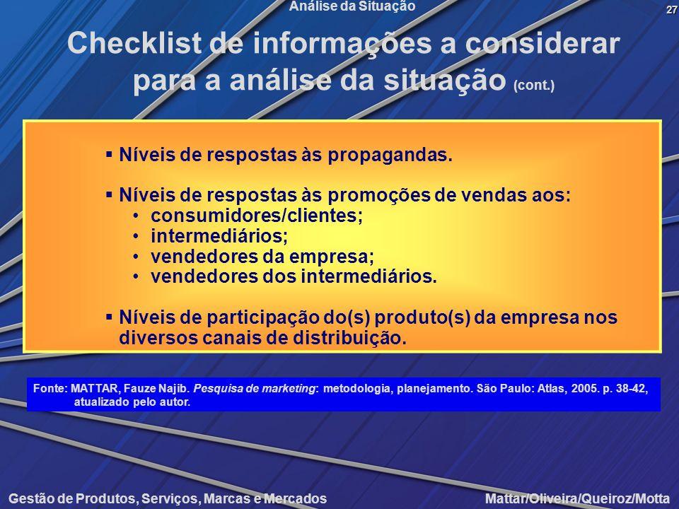Gestão de Produtos, Serviços, Marcas e Mercados Mattar/Oliveira/Queiroz/Motta Análise da Situação Níveis de respostas às propagandas. Níveis de respos