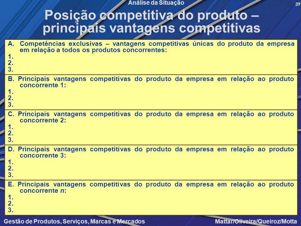 Gestão de Produtos, Serviços, Marcas e Mercados Mattar/Oliveira/Queiroz/Motta Análise da Situação A.Competências exclusivas – vantagens competitivas ú