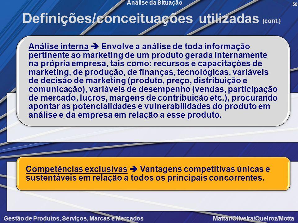 Gestão de Produtos, Serviços, Marcas e Mercados Mattar/Oliveira/Queiroz/Motta Análise da Situação50 Definições/conceituações utilizadas (cont.) Anális