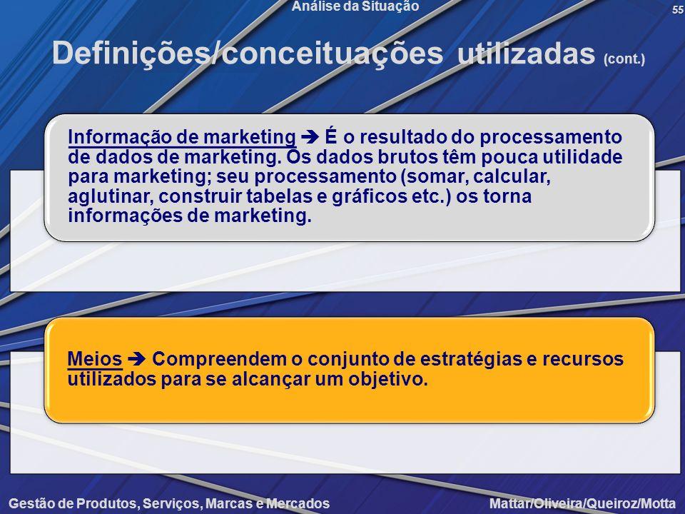 Gestão de Produtos, Serviços, Marcas e Mercados Mattar/Oliveira/Queiroz/Motta Análise da Situação55 Definições/conceituações utilizadas (cont.) Inform