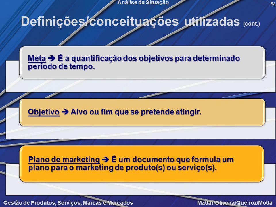 Gestão de Produtos, Serviços, Marcas e Mercados Mattar/Oliveira/Queiroz/Motta Análise da Situação56 Definições/conceituações utilizadas (cont.) Meta É