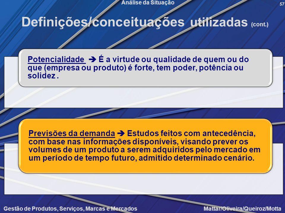 Gestão de Produtos, Serviços, Marcas e Mercados Mattar/Oliveira/Queiroz/Motta Análise da Situação57 Definições/conceituações utilizadas (cont.) Potenc
