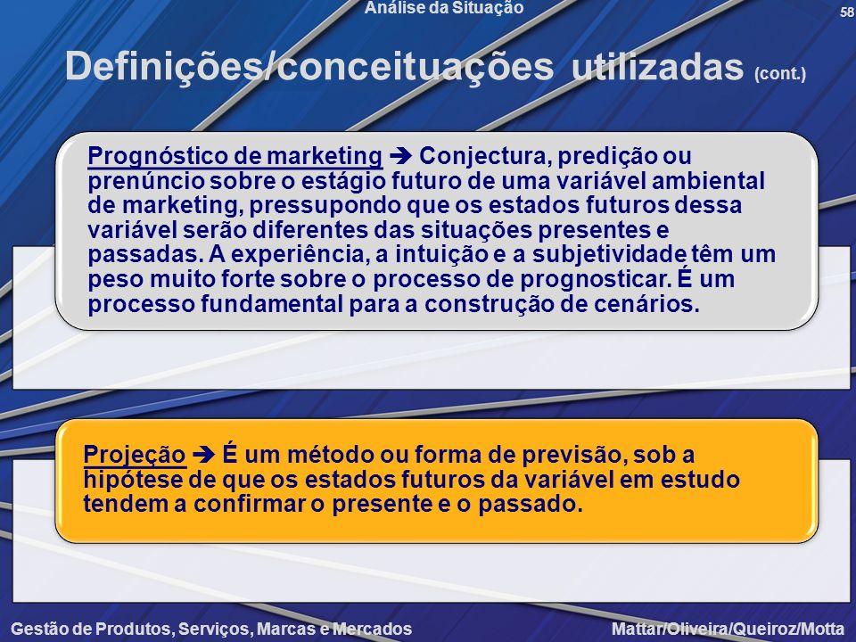 Gestão de Produtos, Serviços, Marcas e Mercados Mattar/Oliveira/Queiroz/Motta Análise da Situação58 Definições/conceituações utilizadas (cont.) Prognó