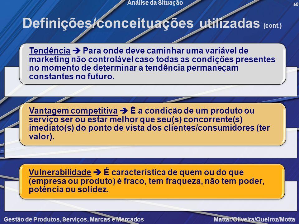 Gestão de Produtos, Serviços, Marcas e Mercados Mattar/Oliveira/Queiroz/Motta Análise da Situação60 Definições/conceituações utilizadas (cont.) Tendên