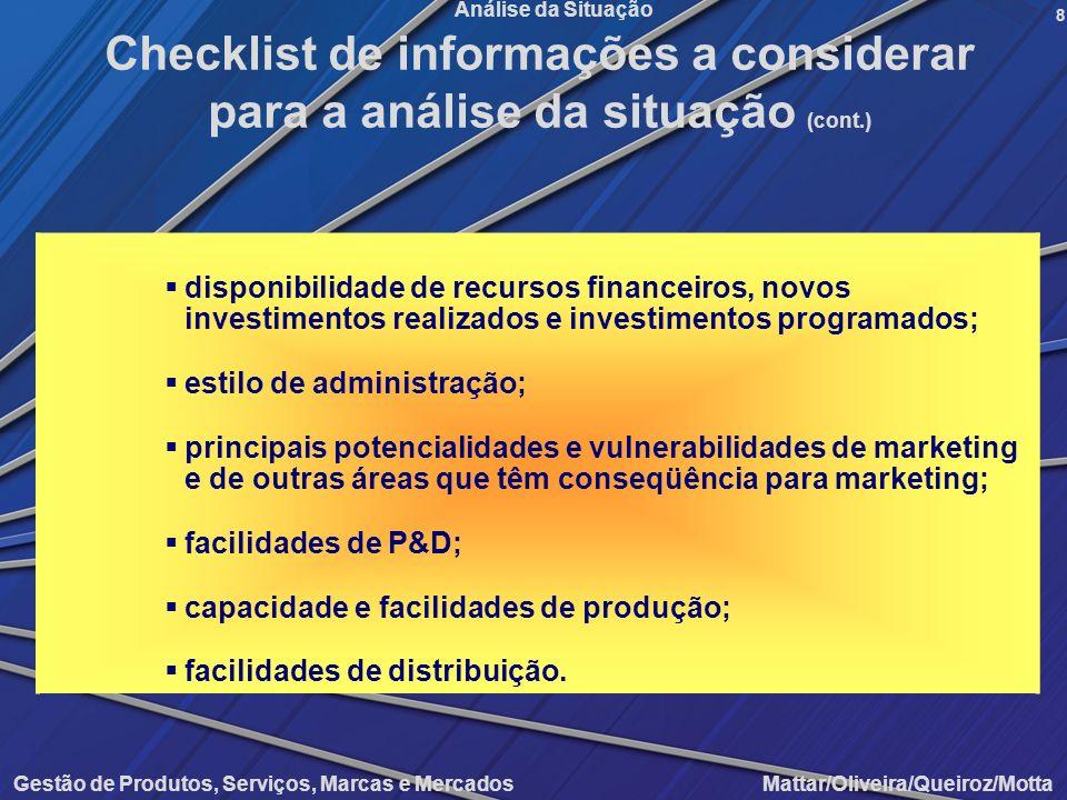 Gestão de Produtos, Serviços, Marcas e Mercados Mattar/Oliveira/Queiroz/Motta Análise da Situação disponibilidade de recursos financeiros, novos inves