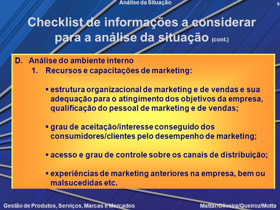 Gestão de Produtos, Serviços, Marcas e Mercados Mattar/Oliveira/Queiroz/Motta Análise da Situação D.Análise do ambiente interno 1.Recursos e capacitaç