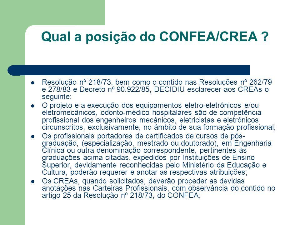 Qual a posição do CONFEA/CREA ? Resolução nº 218/73, bem como o contido nas Resoluções nº 262/79 e 278/83 e Decreto nº 90.922/85, DECIDIU esclarecer a