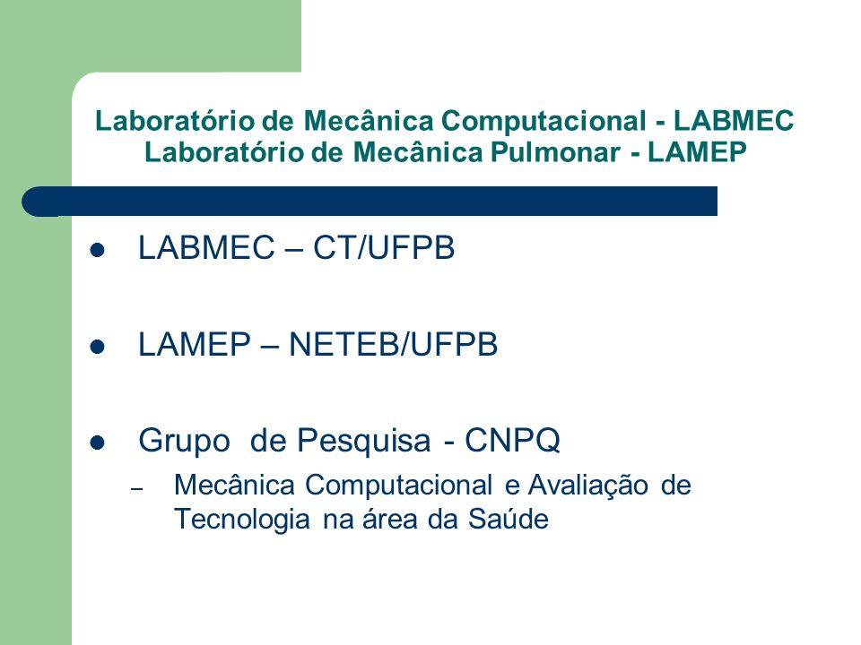 Laboratório de Mecânica Computacional - LABMEC Laboratório de Mecânica Pulmonar - LAMEP LABMEC – CT/UFPB LAMEP – NETEB/UFPB Grupo de Pesquisa - CNPQ –