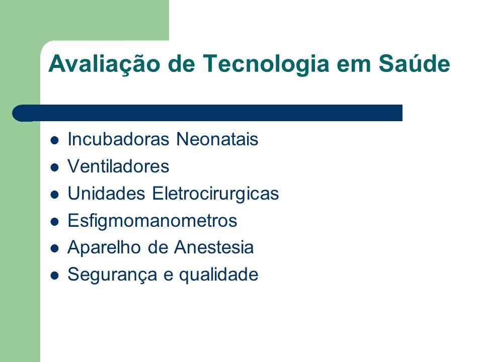 Avaliação de Tecnologia em Saúde Incubadoras Neonatais Ventiladores Unidades Eletrocirurgicas Esfigmomanometros Aparelho de Anestesia Segurança e qual