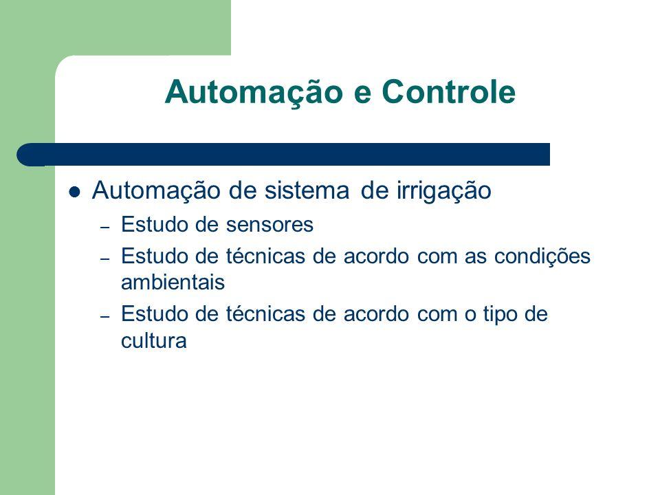 Automação e Controle Automação de sistema de irrigação – Estudo de sensores – Estudo de técnicas de acordo com as condições ambientais – Estudo de téc