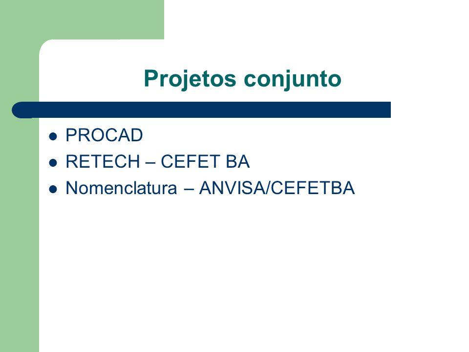 Projetos conjunto PROCAD RETECH – CEFET BA Nomenclatura – ANVISA/CEFETBA
