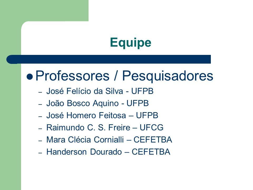 Equipe Professores / Pesquisadores – José Felício da Silva - UFPB – João Bosco Aquino - UFPB – José Homero Feitosa – UFPB – Raimundo C. S. Freire – UF