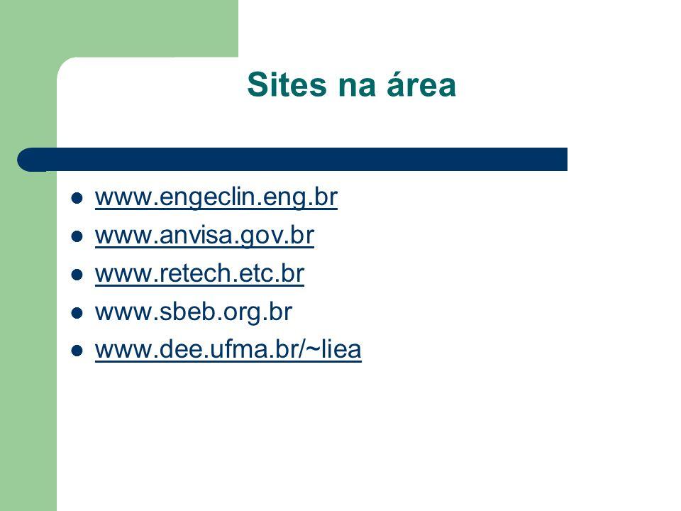 Sites na área www.engeclin.eng.br www.anvisa.gov.br www.retech.etc.br www.sbeb.org.br www.dee.ufma.br/~liea