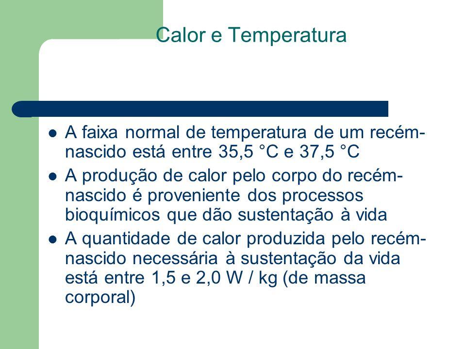 Calor e Temperatura A faixa normal de temperatura de um recém- nascido está entre 35,5 °C e 37,5 °C A produção de calor pelo corpo do recém- nascido é proveniente dos processos bioquímicos que dão sustentação à vida A quantidade de calor produzida pelo recém- nascido necessária à sustentação da vida está entre 1,5 e 2,0 W / kg (de massa corporal)