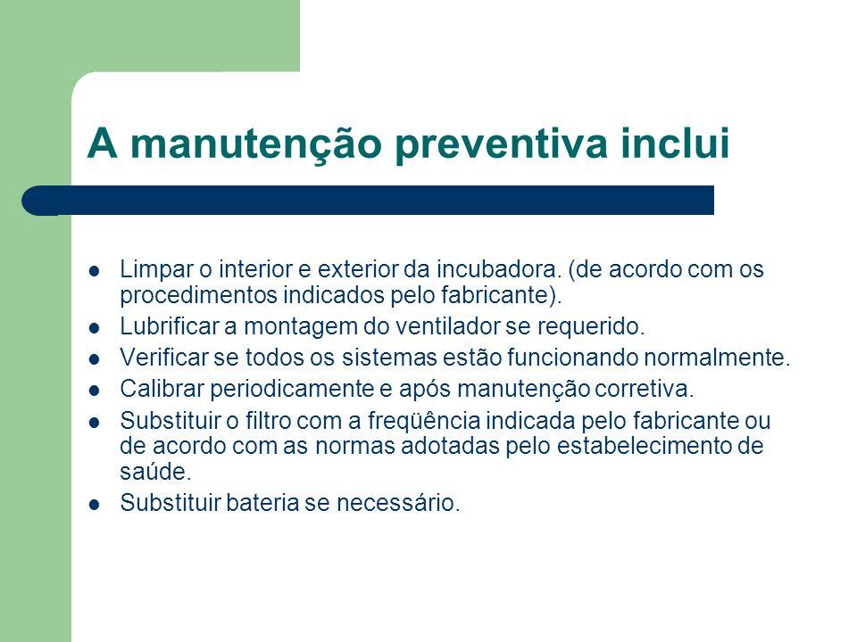 A manutenção preventiva inclui Limpar o interior e exterior da incubadora.