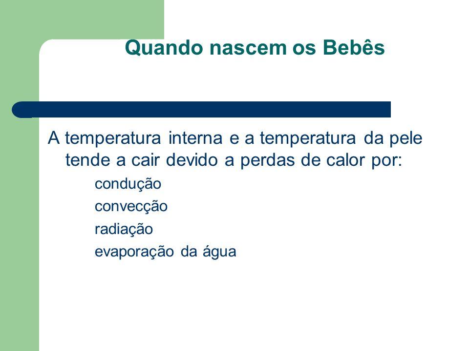 Quando nascem os Bebês A temperatura interna e a temperatura da pele tende a cair devido a perdas de calor por: condução convecção radiação evaporação da água