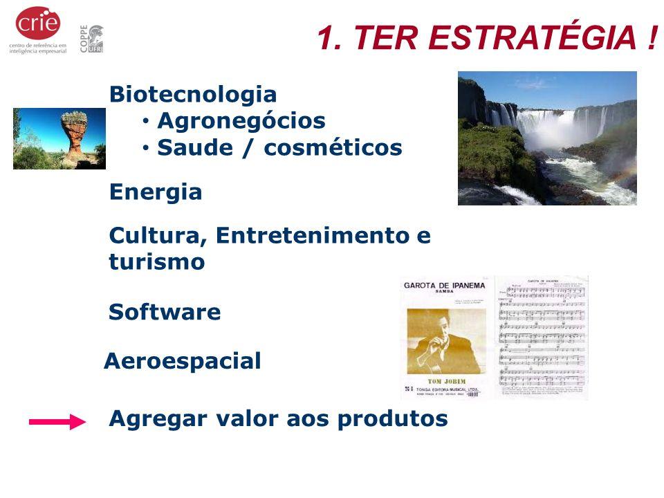 Biotecnologia Agronegócios Saude / cosméticos Energia Software Cultura, Entretenimento e turismo Agregar valor aos produtos 1. TER ESTRATÉGIA ! Aeroes
