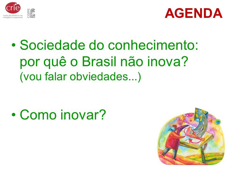 AGENDA Sociedade do conhecimento: por quê o Brasil não inova? (vou falar obviedades...) Como inovar?