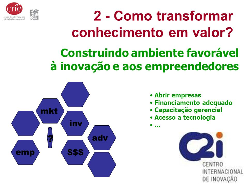 2 - Como transformar conhecimento em valor? ? mkt $$$ adv emp inv Construindo ambiente favorável à inovação e aos empreendedores Abrir empresas Financ