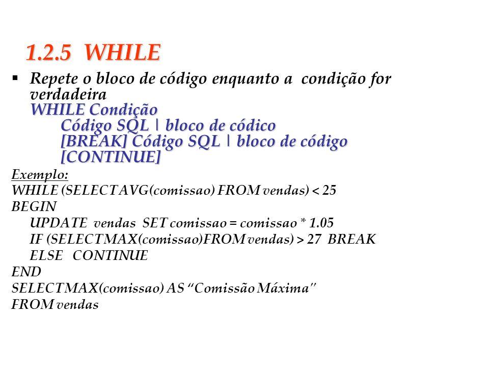 Slide 10 1.2.5 WHILE Repete o bloco de código enquanto a condição for verdadeiraWHILE Condição Código SQL | bloco de códico [BREAK] Código SQL | bloco