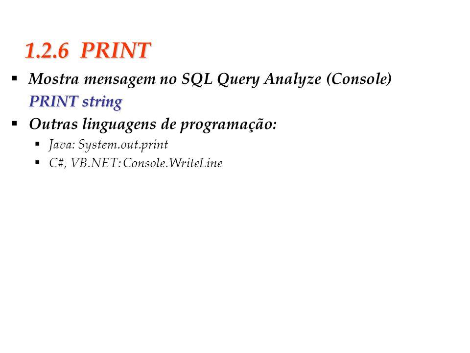Slide 11 1.2.6 PRINT Mostra mensagem no SQL Query Analyze (Console) PRINT string Outras linguagens de programação: Java: System.out.print C#, VB.NET: