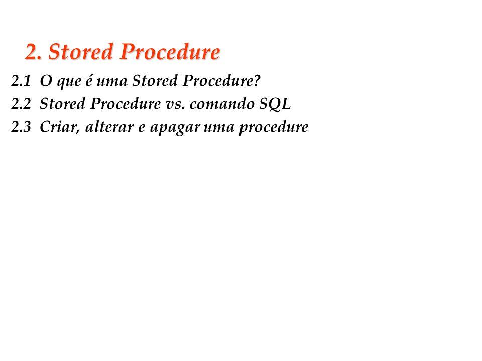 Slide 12 2. Stored Procedure 2.1 O que é uma Stored Procedure? 2.2 Stored Procedure vs. comando SQL 2.3 Criar, alterar e apagar uma procedure